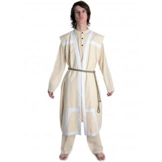 Wikinger Mantel Lurteun in Beige-Weiß Frontansicht