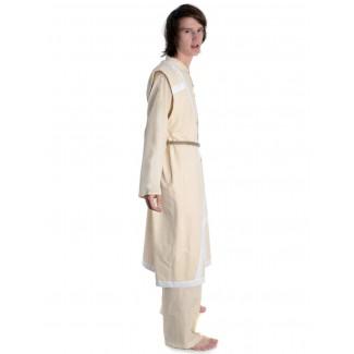 Wikinger Mantel Lurteun in Beige-Weiß Seitenansicht