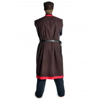 Wikinger Mantel Lurteun in Braun-Rot Rückansicht