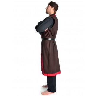 Wikinger Mantel Lurteun in Braun-Rot Seitenansicht
