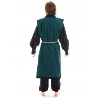 Wikinger Mantel Lurteun in Grün-Schwarz Rückansicht