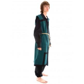 Wikinger Mantel Lurteun in Grün-Schwarz Seitenansicht