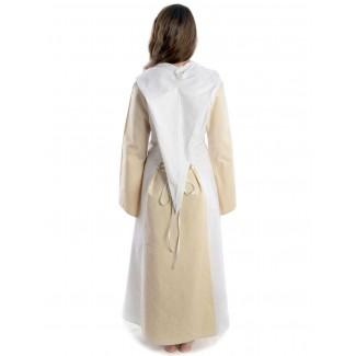 Mittelalter Kleid Liebgart in Beige-Weiß Rückansicht