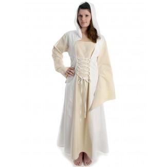 Mittelalter Kleid Liebgart in Beige-Weiß Frontansicht