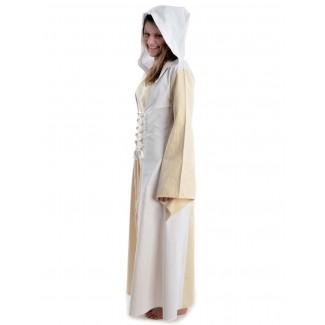 Mittelalter Kleid Liebgart in Beige-Weiß Seitenansicht