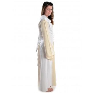 Mittelalter Kleid Liebgart in Beige-Weiß Seitenansicht 2