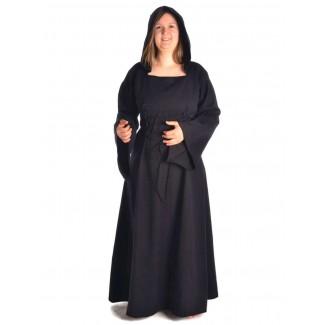 Mittelalter Kleid Liebgart in Schwarz Frontansicht