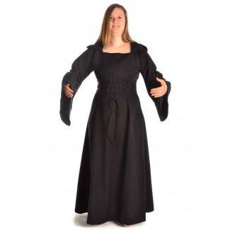 Mittelalter Kleid Liebgart in Schwarz Frontansicht 2
