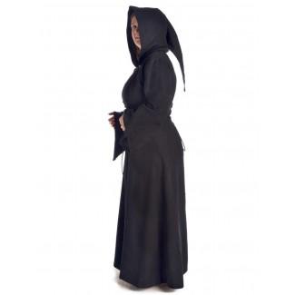 Mittelalter Kleid Liebgart in Schwarz Seitenansicht