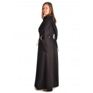Mittelalter Kleid Liebgart in Schwarz Seitenansicht 2