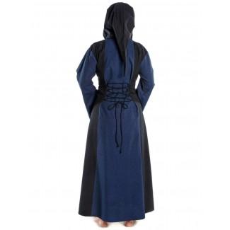 Mittelalter Kleid Liebgart in Blau-Schwarz Rückansicht