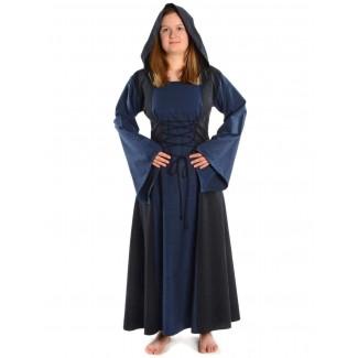 Mittelalter Kleid Liebgart in Blau-Schwarz Frontansicht