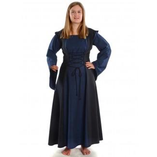 Mittelalter Kleid Liebgart in Blau-Schwarz Frontansicht 2