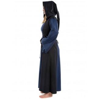 Mittelalter Kleid Liebgart in Blau-Schwarz Seitenansicht
