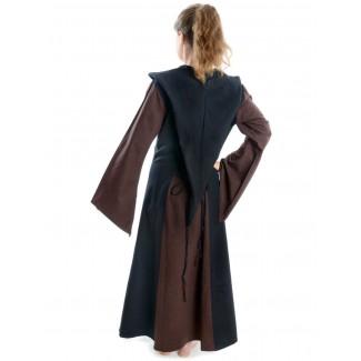 Mittelalter Kleid Liebgart in Braun-Schwarz Rückansicht