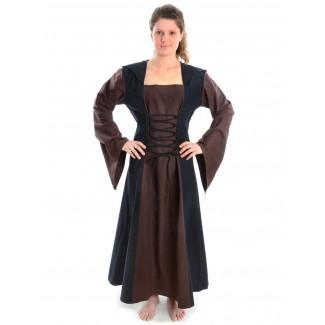 Mittelalter Kleid Liebgart in Braun-Schwarz Frontansicht