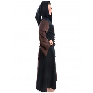 Mittelalter Kleid Liebgart in Braun-Schwarz Seitenansicht