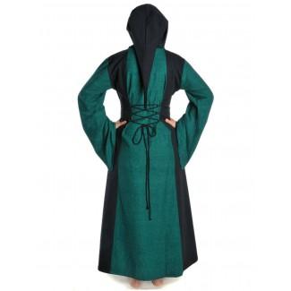 Mittelalter Kleid Liebgart in Grün-Schwarz Rückansicht