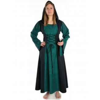 Mittelalter Kleid Liebgart in Grün-Schwarz Frontansicht