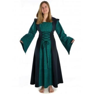 Mittelalter Kleid Liebgart in Grün-Schwarz Frontansicht 2