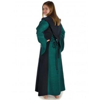 Mittelalter Kleid Liebgart in Grün-Schwarz Seitenansicht