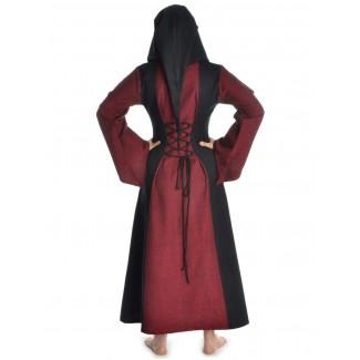 Mittelalter Kleid Liebgart in Rot-Schwarz Rückansicht