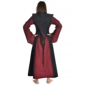 Mittelalter Kleid Liebgart in Rot-Schwarz Rückansicht 2