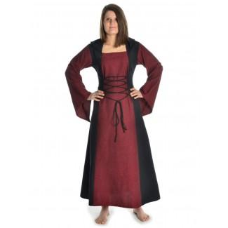 Mittelalter Kleid Liebgart in Rot-Schwarz Frontansicht 2