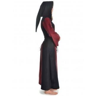 Mittelalter Kleid Liebgart in Rot-Schwarz Seitenansicht