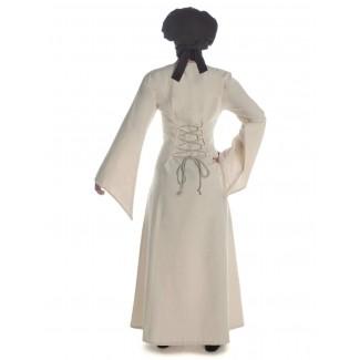 Mittelalter Kleid Amurfina in Beige Rückansicht