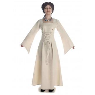 Mittelalter Kleid Amurfina in Beige Frontansicht