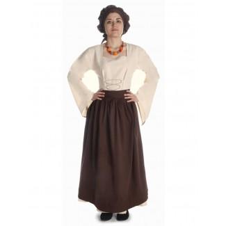 Mittelalter Kleid Amurfina in Beige Frontansicht 3