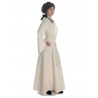 Mittelalter Kleid Amurfina in Beige Seitenansicht 2