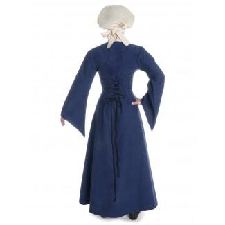 Mittelalter Kleid Amurfina in Blau Rückansicht