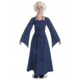 Mittelalter Kleid Amurfina in Blau Frontansicht