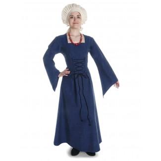 Mittelalter Kleid Amurfina in Blau Frontansicht 2