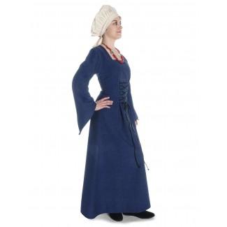 Mittelalter Kleid Amurfina in Blau Seitenansicht