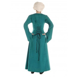 Mittelalter Kleid Amurfina in Grün Rückansicht
