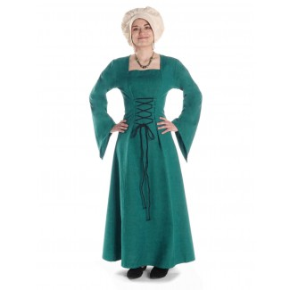 Mittelalter Kleid Amurfina in Grün Frontansicht