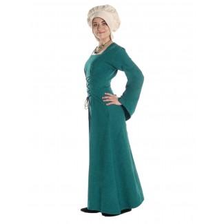 Mittelalter Kleid Amurfina in Grün Seitenansicht