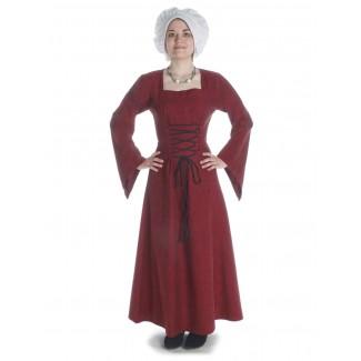 Mittelalter Kleid Amurfina in Rot Frontansicht
