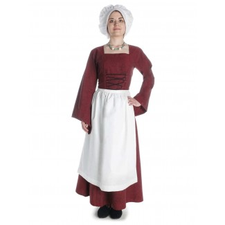 Mittelalter Kleid Amurfina in Rot Frontansicht 2