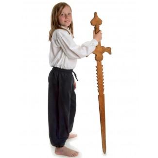 Mittelalter Kinderhose Postefar in Schwarz Seitenansicht