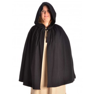 Mittelalter Umhang Virginal in Schwarz Frontansicht