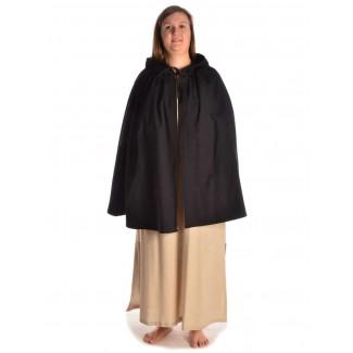 Mittelalter Umhang Virginal in Schwarz Frontansicht 4