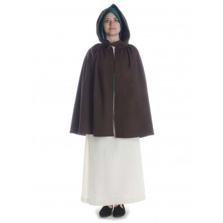 Mittelalter Umhang Virginal in Braun Frontansicht