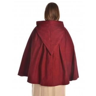 Mittelalter Umhang Virginal in Rot Rückansicht