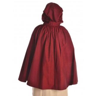 Mittelalter Umhang Virginal in Rot Rückansicht 2