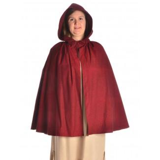 Mittelalter Umhang Virginal in Rot Frontansicht