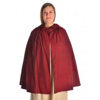 Mittelalter Umhang Virginal in Rot Frontansicht 2